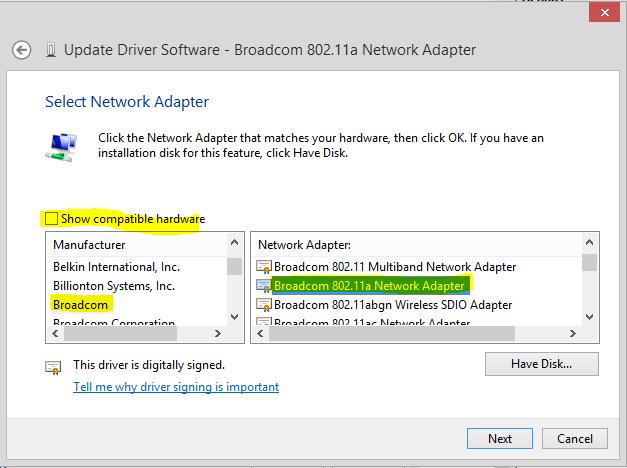 Broadcom 802. 11 multiband driver.