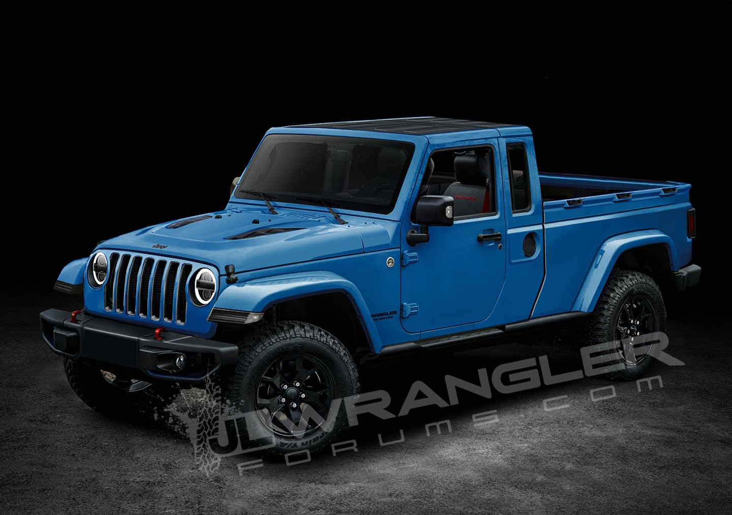 2019 jeep wrangler pickup looks scrambler rific in latest renderings carscoops. Black Bedroom Furniture Sets. Home Design Ideas
