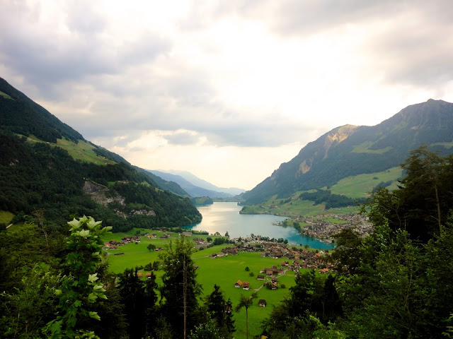 Mountain and lake view in the Swiss Alps