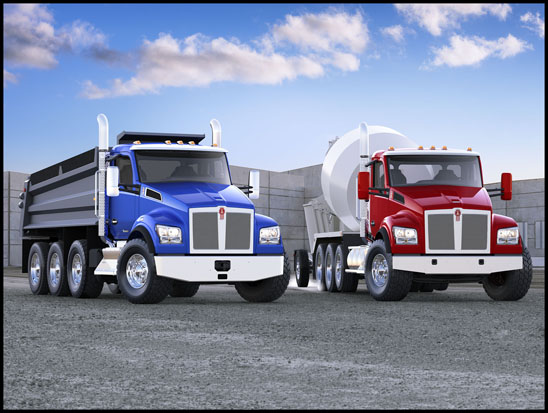 Kenworth T880 Dump Truck and Concrete Mixer Truck