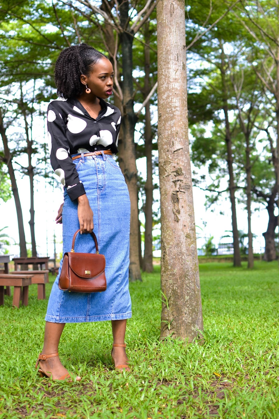 Black and White Polka Dot Shirt and Denim Skirt