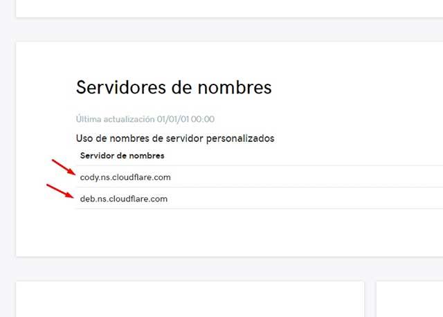 cambiar los servidores de nombre por los de Cloudflare