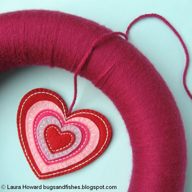 attach the embroidered heart to the wreath