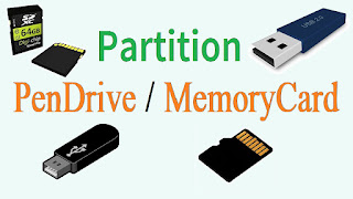 partition pen drive or memory card