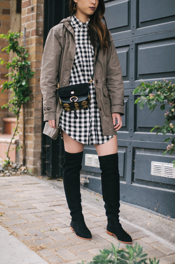 san francisco style blogger wearing filson field parka and over the knee boots