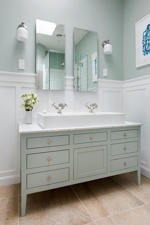 Classic board and batten look bathroom. Bathroom next steps    which wainscoting look  from Thrifty Decor