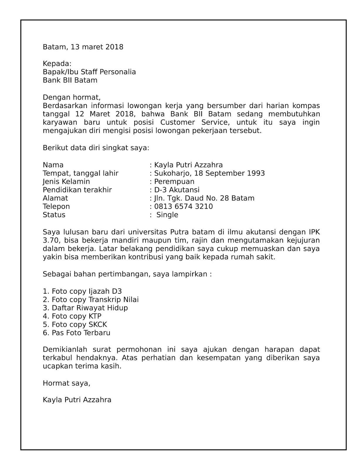 Contoh Surat Lamaran Kerja Di Bank Paling Bagus Contoh Surat