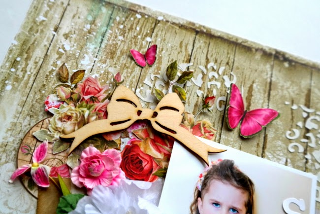 Layered Embellishment with Pink Flowers and Wood Veneer Bow
