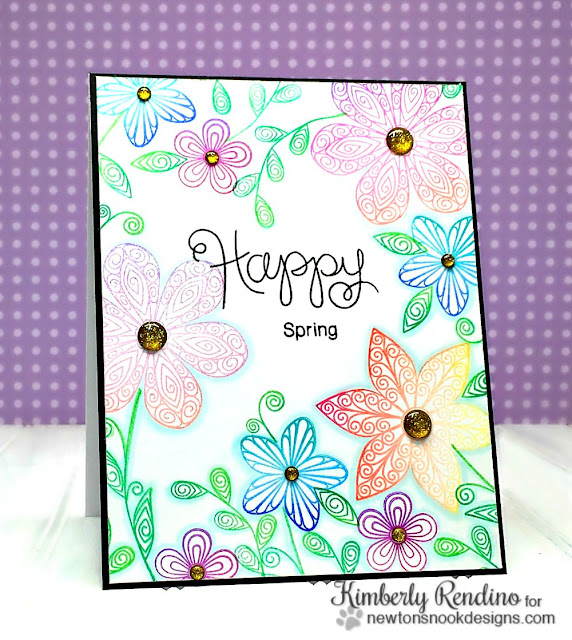 quilled | quilling | flowers | Newton's Nook Designs | kimpletekreativity.blogspot.com | handmade card | clear stamps