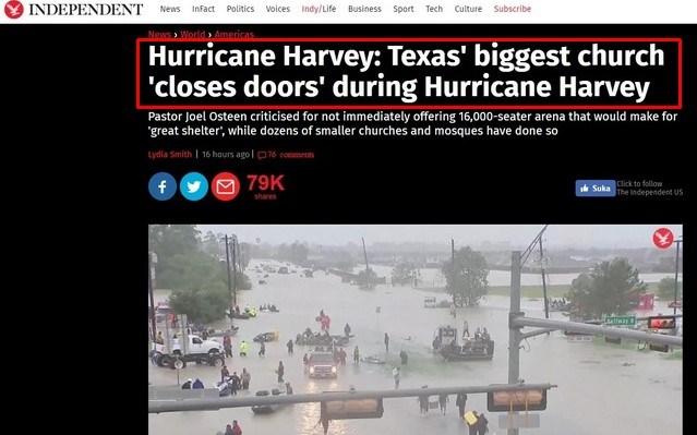 Gereja Terbesar di Texas Menutup Pintu Saat Badai Harvey, Sementara Masjid Buka Pintu tuk Bantu Korban