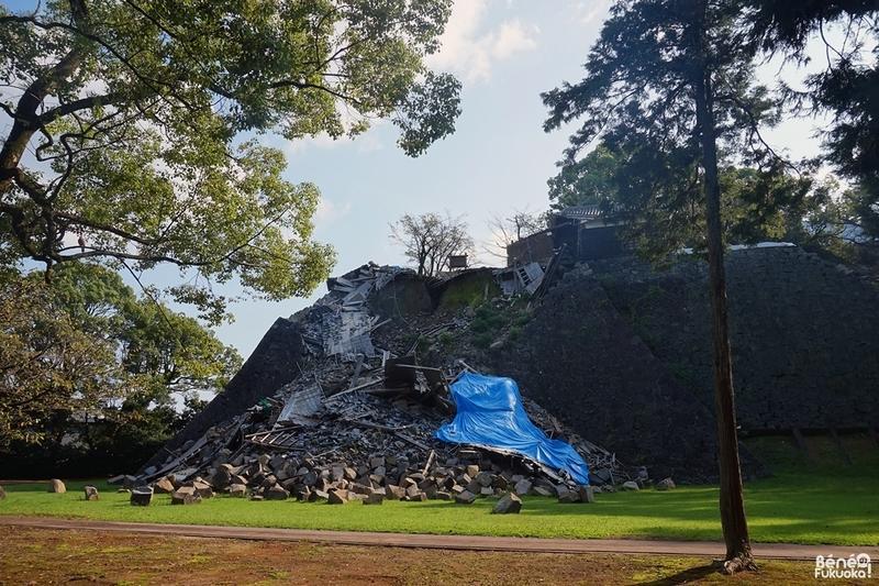 地震後の熊本城の石垣(武者返し)