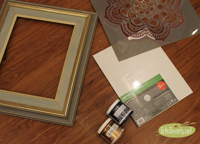 thrifted frame deco art mandala stencil metallics and satin enamels paint boho chic eclectic decor