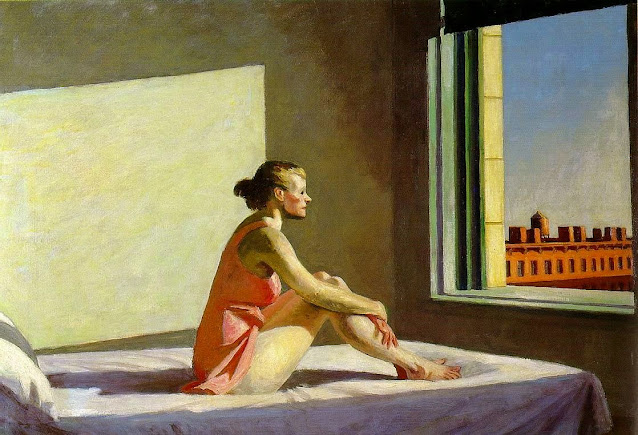 Quadro Edward Hopper donna seduta sul letto guarda dalla finestra