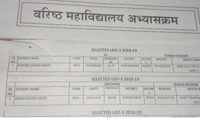 Samaj Kalyan Hostel Cutoff of Government Hostel with Category