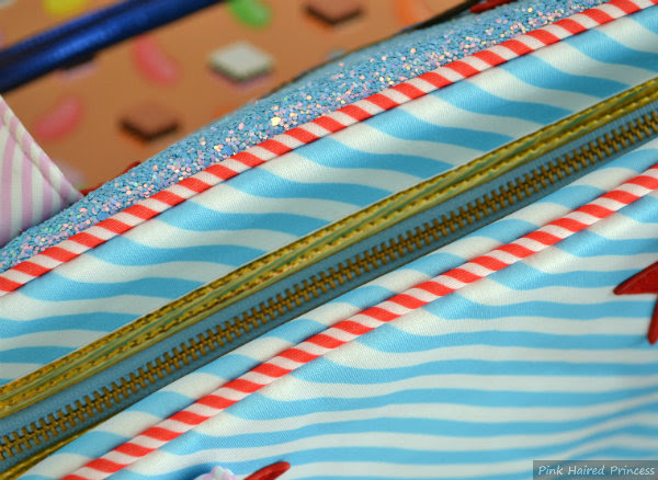 detailed view of zip closure and striped piping details on irregular choice whoa bag