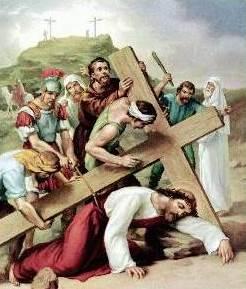 Dibujo de Jesús cayendo por última vez al suelo