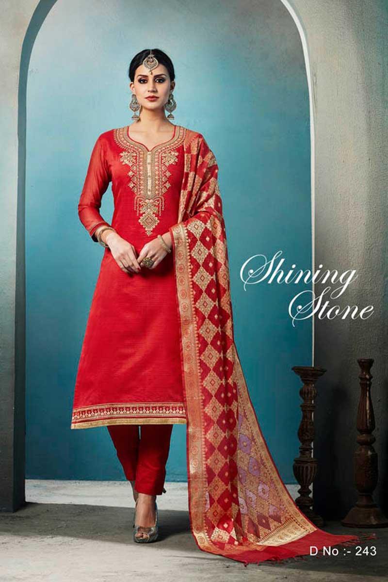 315f7a835d Red-Designer-Wedding-Wear-Chanderi-Quater-Sleeves-Embroidered-Salwar-Suit