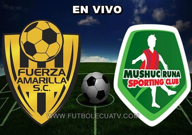 Mushuc Runa se enfrenta a Fuerza Amarilla en vivo a partir de las 14h00 horario determinado por la comitiva a efectuarse en el estadio Nueve de Mayo siguiendo la fecha diez de la Serie A Ecuador, con arbitraje principal de Vinicio Espinel siendo emitido por el canal oficial GolTV.
