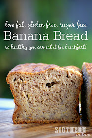 Gluten Free Banana Bread Recipe - low fat, gluten free, sugar free, healthy, clean eating friendly, breakfast banana bread