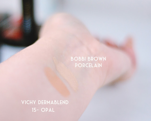 Vichy Dermablend 15 Opal vs Bobbi Brown Porcelain