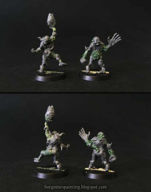 2 unpainted, kitbashed miniatures of rotters for Blood Bowl Nurgle team, visible from multiple angles. Through the use of bits and greenstuff, they were converted to show their own upgrade skills, bonus Agility and Big Hand respectively.
