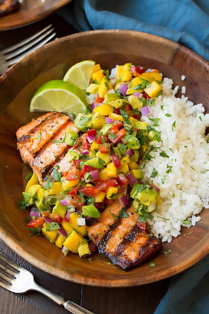 Grilled Salmon with Mango Salsa and Coconut Rice