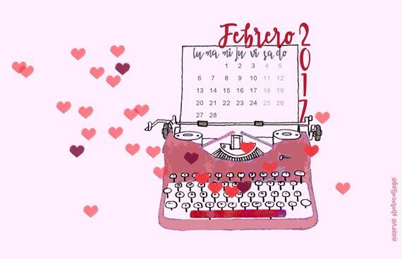 vintage typewriter and hearts illustration, Valentine's Day wallpaper