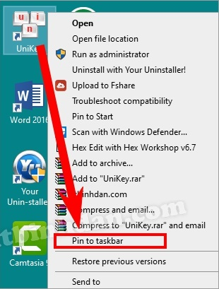 Pin Unikey to taskbar