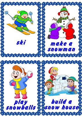 winter activities flashcards