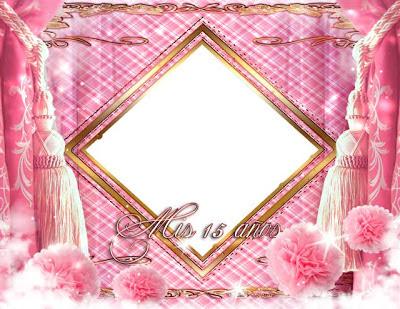 marco para fotos de 15 años con bellos elementos decorativos en rosa y dorado