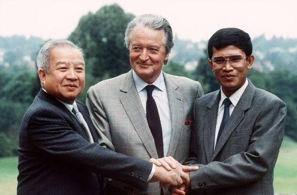 Norodom Sihanouk, Roland Dumas et Hun Sen