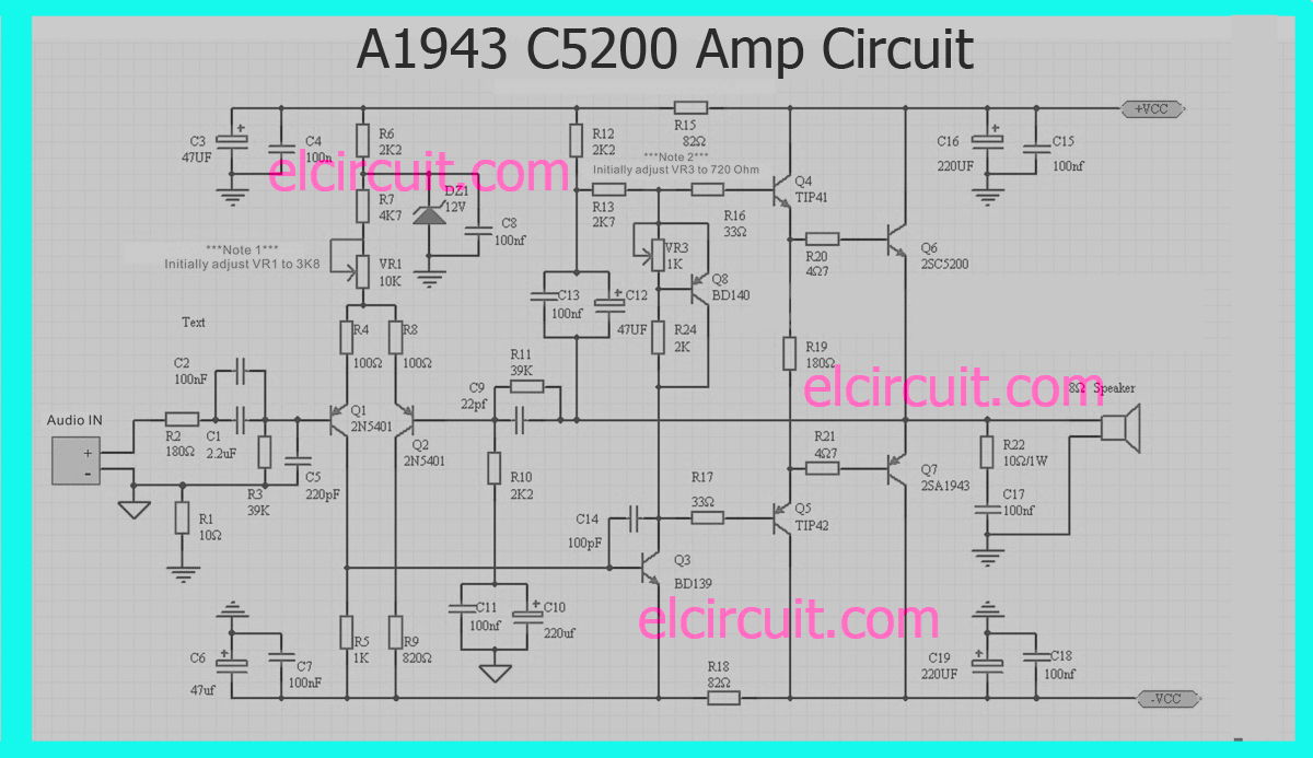 A1943 C5200 Power Amplifier Circuit Electronic 8ohm Sub Wiring Diagram