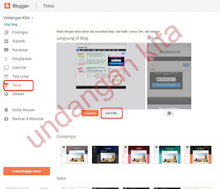 menu template (tema) klik edit HTML