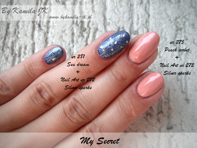 Lakiery My Secret Sea Dream Peach Sorbet Silver Sparks