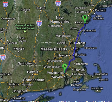 The route from Providence, RI to Ogunquit, ME