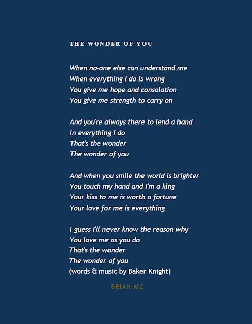 Wonder of You Lyrics, Elvis presley