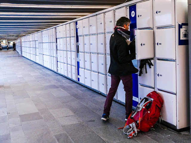 Lockers in Eindhoven railway station.