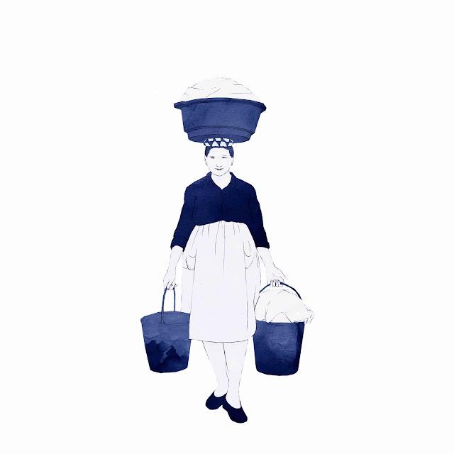 azulejo, cerámica azul, mujer, cargada