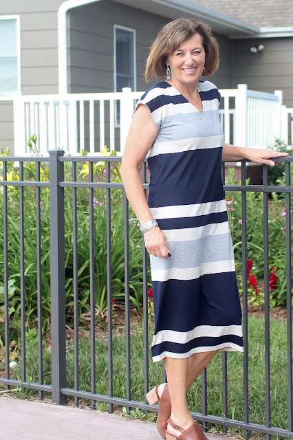 Lodo Dress from IndieSew made from Mood Fabrics' Stripe Jersey Knit, which is perfect for summer