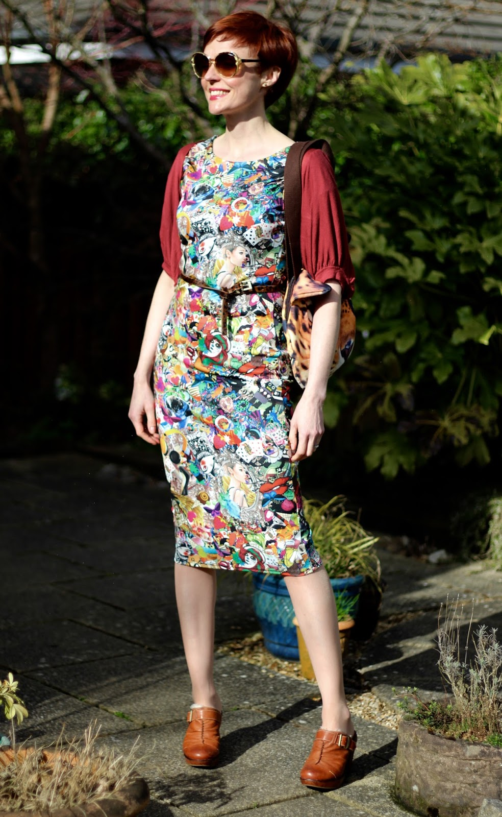 Fake Fabulous | PPP 6 | Graphic Patterned midi dress, leopard bag and belt, Maroon shrug, sheepskin mules.