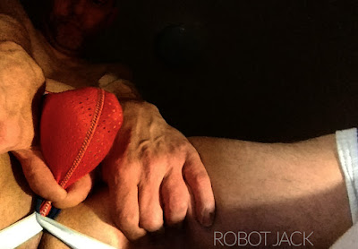 Robot Jack wearing Pump! jockstrap and thigh-high socks shows his cock bulge