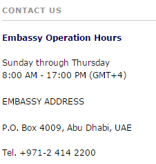 usa embassy in uae abu dhabi office timings and phone numbers