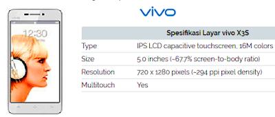 Harga dan Spesifikasi detail HP VIVO X3S