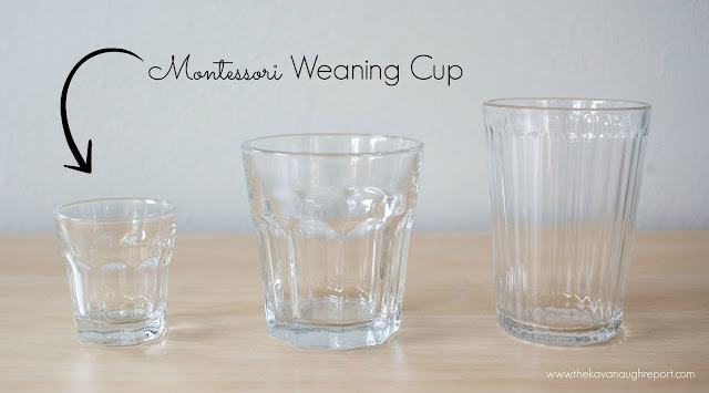 A look at the Montessori weaning cup. Giving babies a small cup instead of a closed container helps to promote independence from the start.