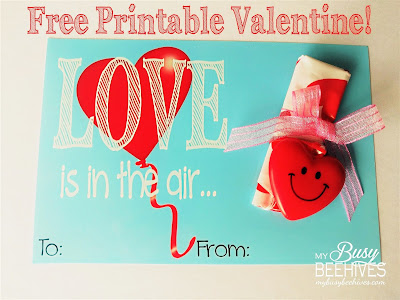 Love is in the Air! free printable Valentines to go with heart parachutes