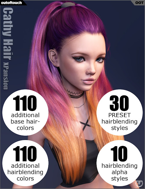 DAZ 3D - Cathy Hair and OOT Hairblending 2.0 Texture XPansion