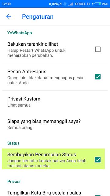 Sembunyikan Nama Dari Status Teman WhatsApp