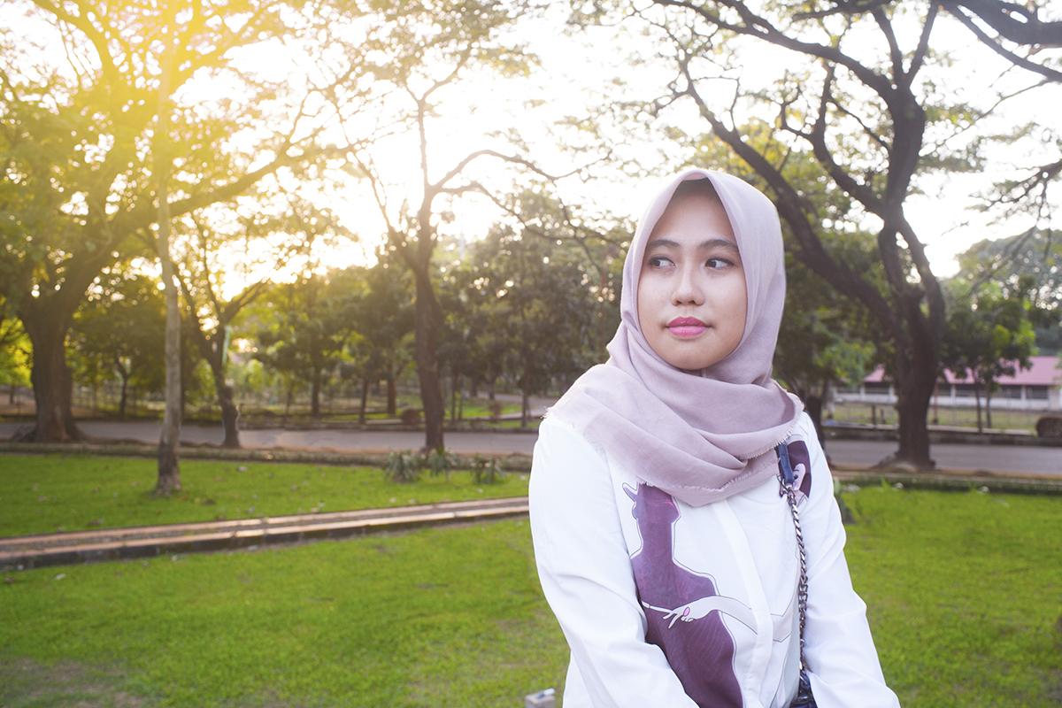 foto tutorial hijab 2016 foto tutorial hijab 2014 model cantik mahasisiw UNM di Unhas