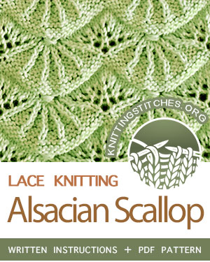 Eyelet & Lace Knitting Stitch, Alsacian Scallop Pattern Free