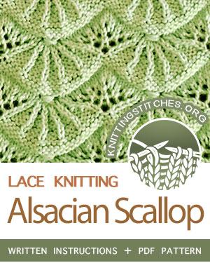 Eyelet & Lace Knitting Stitch, Alsacian Scallop Pattern Free